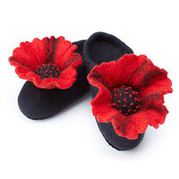WOOL FELTED POPPY SLIPPERS | wool felted poppy slippers, womens accessories, felt, handmade, Lesley Hansard, Rebecca Welsh, fair trade artisans | UncommonGoods