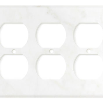 Italian Calacatta Gold Marble Triple Duplex Switch Wall Plate / Switch Plate / Cover - Honed