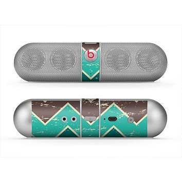 The Vintage Green & Tan Chevron Pattern V2 Skin for the Beats by Dre Pill Bluetooth Speaker