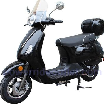 PRO LX150 150cc 4 Stroke Vespa style Gas Scooter with wind shield, Aluminum Wheels, LED Lights, Fully Assembled Package (Free Rear Trunk)