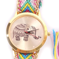 Magenta Braided Yarn Hennna Elephant Watch