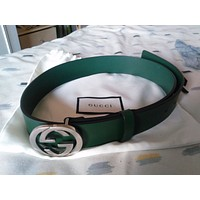 Gucci Leather Belt With Interlocking G Buckle 368186With Dust Bag