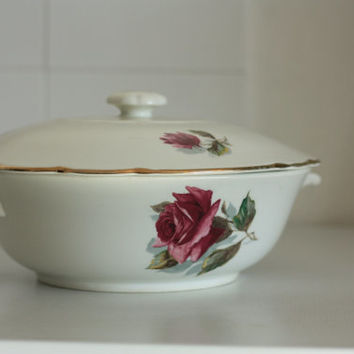 "Old French soup tureen Earthenware factory of GIEN // model ""Chambord"" // Bunch of roses"