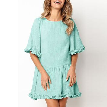 Ruffle sleeve summer dress women Green high waist beach short dress female Loose streetwear casual dress ladies vestidos