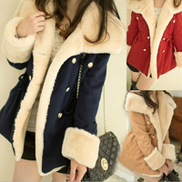 Selling Slim Double Breasted Women Jacket Coat Thickness = 1956361988