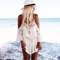 Shoulder Cutout Long Sleeve Blouson Pleated Rompers