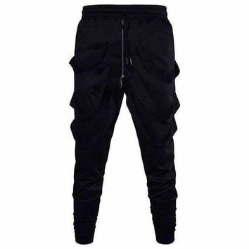 VONE05F8 1621 hip hop pants men black harem track pants with ribbons trousersjoggers sweatpants pantalon hombre 3xl