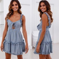 Women's Fashion Ruffle Spaghetti Strap Hot Sale Summer One Piece Dress