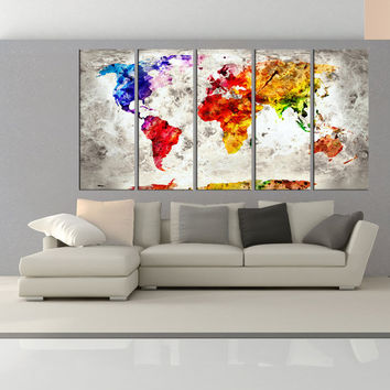 Large world map wall art print, modern wall decor, extra large wall art canvas print, world map wall decals No:6S88