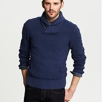 Textured Shawl-Collar Pullover