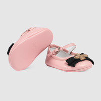 Gucci Baby leather ballet flat with bee