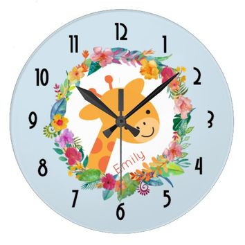 Cute Giraffe with a Wreath of Watercolor Flowers Large Clock