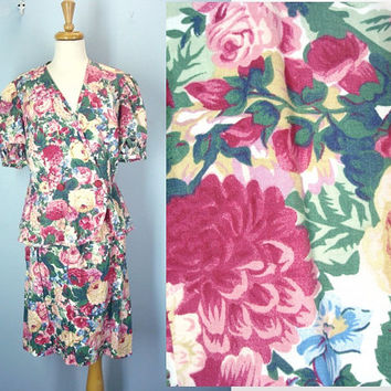 Cottage Flower Dress / 80s Dress / Plus Size / Peplum Two Piece Dress