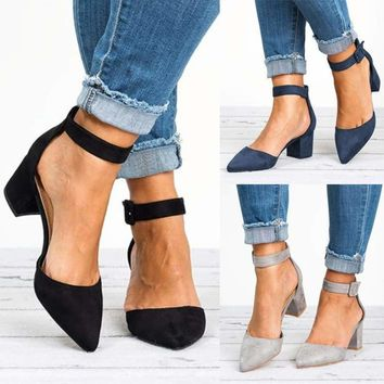 Women Low Block Heel Pointed Toe Casual Shoes Ankle Strap Party Sandals Shoes