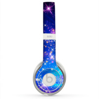 The Glowing Pink & Blue Starry Orbit Skin for the Beats by Dre Solo 2 Headphones