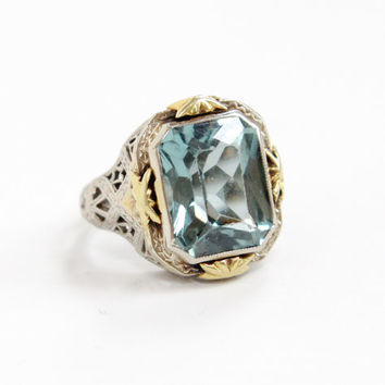 Antique Art Deco 10k White and Yellow Gold Simulated Blue Aquamarine Ring - Vintage 1920s 1930s Filigree Faceted Created Spinel Fine Jewelry