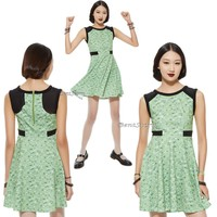 """Licensed cool NEW """"BUTTERCUP"""" POWERPUFF GIRLS Green Triangle Print Dress HOT TOPIC EXC. JRS."""