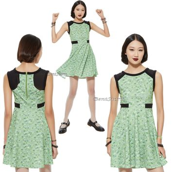 "Licensed cool NEW ""BUTTERCUP"" POWERPUFF GIRLS Green Triangle Print Dress HOT TOPIC EXC. JRS."