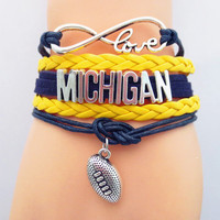Infinity Love Michigan Football Bracelet