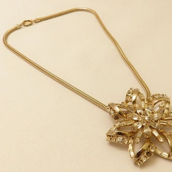 Gorgeous Coro Craft Large Rhinestone Flower Pendant Necklace