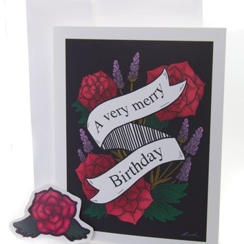 """A Very Merry Birthday"" Floral Greeting Card with Envelope & Sticker"