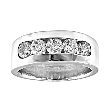 1.80ct Channel Round Diamonds in 14K White Gold Men's Wedding Band