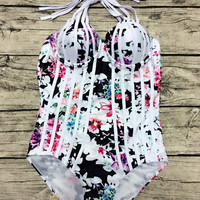 Multicolor Floral Strappy Halter Cut Out Back One-piece Swimsuit