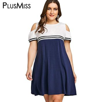 PlusMiss Plus Size 5XL Summer School Sexy Cold Shoulder Dress Women Clothing Large Size Sundress Short Sleeve Loose Dresses