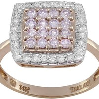 .61ctw Round White & Natural Poshpink Diamond(Tm) 14k Rose Gold Ring