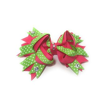 """Girls 4.5"""" Boutique Hair Bow with Bling Stones"""