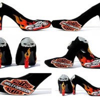 Harley Davidson Skull and Crystal Flame Heels