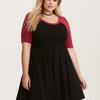 Beet Red & Black Jersey Raglan Skater Dress