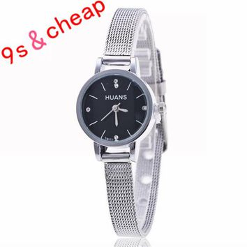 Stainless Steel  Rhinestone Quartz Wrist Watch