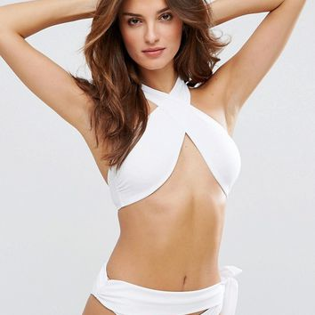 Lost Ink Wrap Halter Bikini Top at asos.com