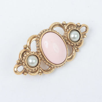 Victorian Revival Pin Pink Cabochon Faux Pearls Gold Tone 1928 Jewelry Company