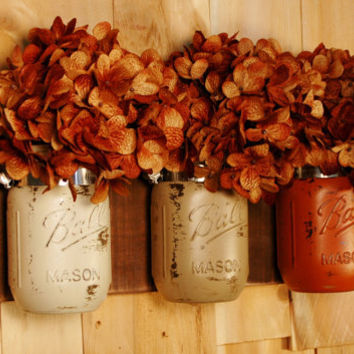 Fall's Bounty mason jar trio on dark stained recycled board Fall Autumn and Summer decor