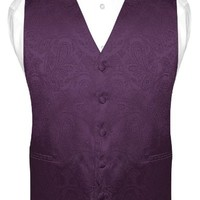 Men's Paisley Design Dress Vest & Bow Tie DARK PURPLE Color BOWTie Set