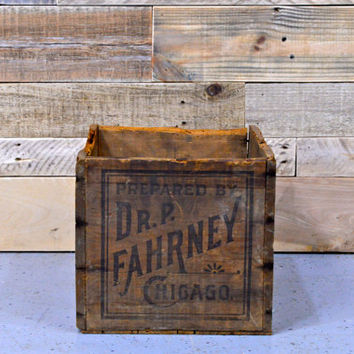 Vintage Wood Crate, Wooden Storage Crate, Chicago Crate, Wood Box, Medicine Crate, Medical Decor