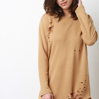Destroyed French Terry Long Sleeves Dress