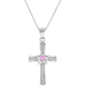 925 Sterling Silver Pink Clear CZ Star Small Cross Pendant Necklace 18""