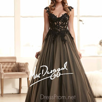 Illusion Lace Cap Sleeves Prom Ball Gown By Mac Duggal 48267H