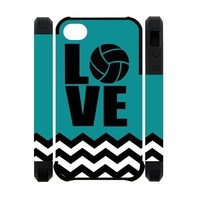 Volleyball Logo Blue-green Case Cover Fashion Shell Protector for iPhone 4 4s
