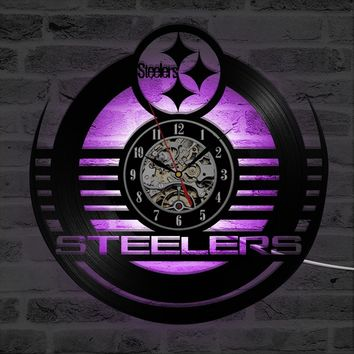 Antique Style Round CD LED Record Clock NFL PITTSBURGH STEELERS Vinyl Wall Clock Creative Personalised Hollow Wall Clock