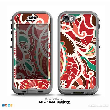 The Abstract Red & Green Vector Pattern Skin for the iPhone 5c nüüd LifeProof Case