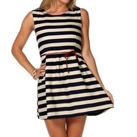 Sale-knit Striped Skater Dress