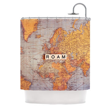 "Sylvia Cook ""Roam Map"" World Shower Curtain"