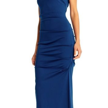 Adrianna Papell - AP1E202260 Draped Square Neck Long Sheath Gown