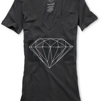 Diamond Supply Diamond Life Girls Charcoal V-Neck Shirt at Zumiez : PDP