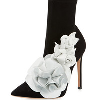 Sophia Webster Lilico Suede Ankle Boot with 3D Flower