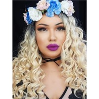 Platinum Blonde #1B/613 Ombre Curly Synthetic Lace Front Wig